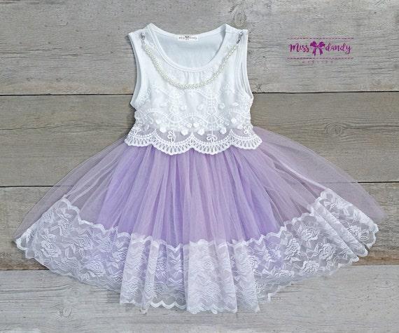 Lila Dress- Lilac Embroidery & Lace Flower Girl Dress, French lce  Flower Girl, Birthday dress Girl, Flower girl dress,Rustic wedding girl