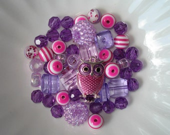 Bead Kit DIY Bubblegum Acrylic Beads Purple Enamel Owl Charm Pendant
