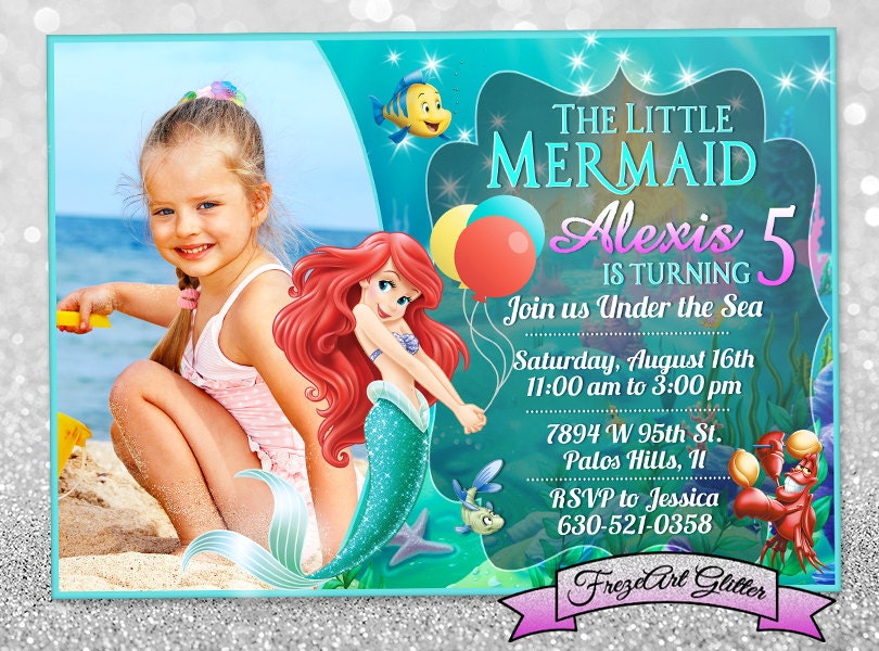 little mermaid invitation  etsy, Birthday invitations
