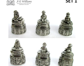 A.E.Williams Pewter Set Of Three Dolls Thimble Miniature Made in England AR153
