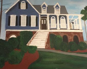 Custom Home Portrait//Housewarming Gift//Realtor Gift//House Painting//Custom Artwork