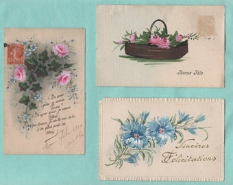 3 old postcards painted the hand/old postcard handpainted