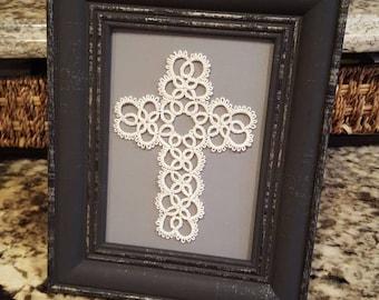Handmade Tatted Cross in 5×7 Frame