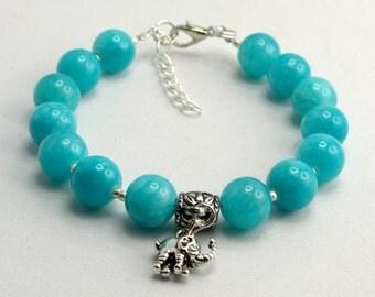 8mm Blue Jade Bracelet