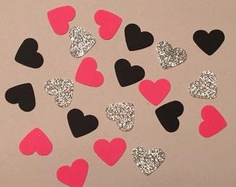 225 Heart Confetti Pink Confetti Black Confetti Silver Confetti Shower Confetti Wedding Confetti Anniversary Confetti Birthday Confetti