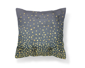 Throw Pillow Confetti, Decroative Pillow, blue pillow, navy pillow, navy, blue, gold, dark blue