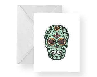 Note Cards Sugar Skull (Set), Sugar Skull stationery, Day of the Dead Stationery, Day of the Dead Note Cards, white note cards, folded cards