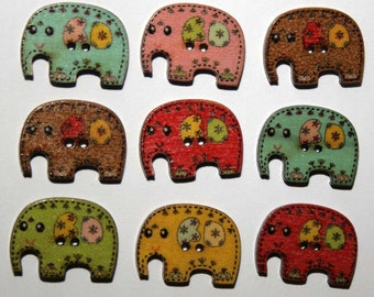 10 wooden elephant buttons for sewing, kids crafts, card making or scrapbooking (25x19mm)