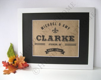 Fleur de Lis Wall Decor - Personalized Family Name Sign - Burlap Print -  Burlap Monogram - Fleur-de-lis - Custom Sign - Wedding Gift