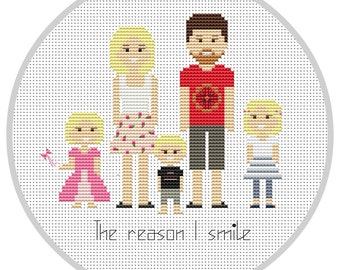 Personalized family 5 characters PDF Cross Stitch Pattern Custom portrait Family Portrait Custom Cross Stitch Embroidery hoop X134