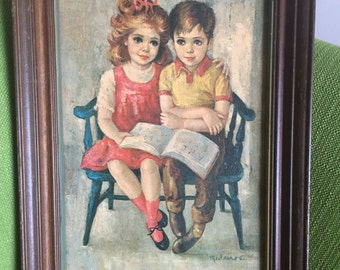 "Vintage 70s Myrle Medeiros ""Tender Years"" Framed Art Painting/Medeiros Big Eye Child Print"