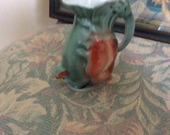 """Art Deco Parrot Creamer, Pitcher Vase  5"""", Porcelain, Marked Germany"""