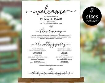 Wedding Program Sign Template, Printable Wedding Program, Wedding Program Poster, Program Sign, PDF Instant Download, Editable Sign
