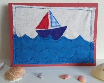 boat stitched greeting card