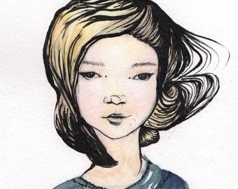 Windswept Woman, Watercolour Painting, Original Artwork