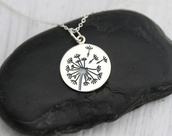 Sterling Dandelion Jewelry, Sterling Silver Dandelion Necklace, Sterling Dandelion Charm Necklace, Dandelion Wishes Pendant NS001