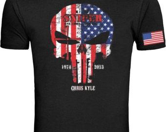 American Sniper The Punisher Legend Skull T Shirt Tee S-4XL