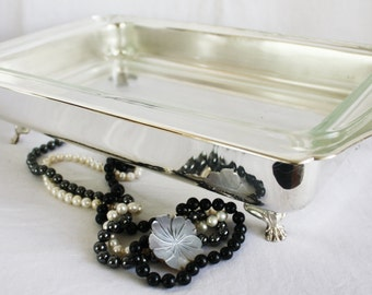 Vintage 1960's Pyrex Casserole Dish in Silver Plated Serving Dish