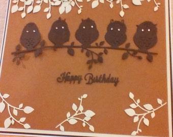 """Handmade 5 owl card 8"""" x 8"""""""