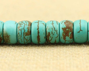 Cake turquoise beads, turquoise jewelry, turquoise necklace beads, bracelet supplies, 60 beads for a listing, wholesale, B 045