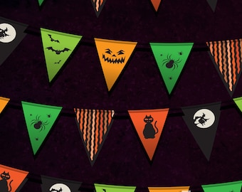 Trick-or-Treat Bunting Photography Backdrop (HWA-ER-009)