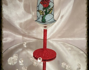 Beauty and the beast rose glitter wine glass