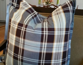 Blue and Brown Plaid Pillow Cover