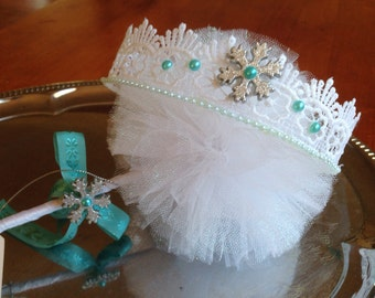 FROZEN PRINCESS tulle wand and lace crown set