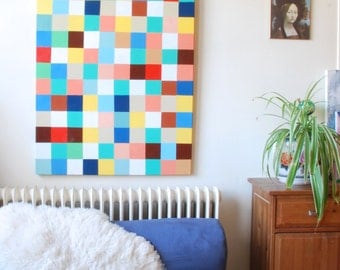 """Large Original Multicolour Abstract grid painting - Acrylic on Canvas, 30"""" x 36"""""""