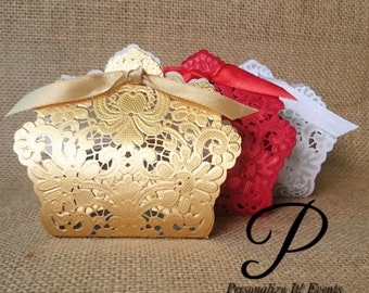 24 Wedding/ Party Favors - Laser Cut Candy Box- Gold/Red/White