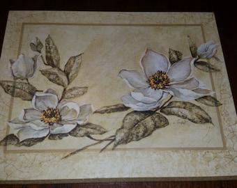 90's Magnolia Plaque, White Flowers, Hanging