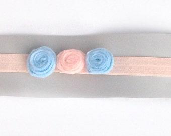 Newborn peach blue and pink rosette headband
