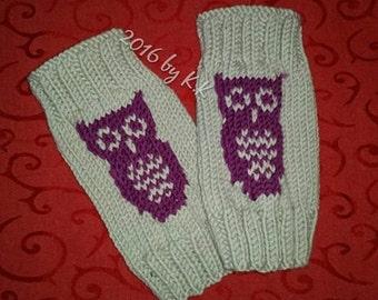 "Hand warmers, leg warmers, wrist warmers / fingerless mittens ""OWL"""