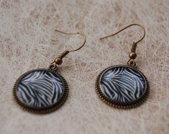 Earrings pendant zebra print