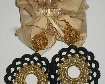 Crochet earrings women looking for black gold