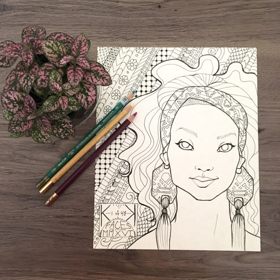 FACES No.1 - Printable Coloring Page