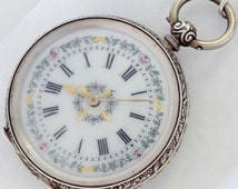 Swiss made Victoria Ladies  pocket antique silver watch Pace of vintage art