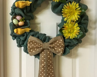Turquoise Spring/ Easter Wreath