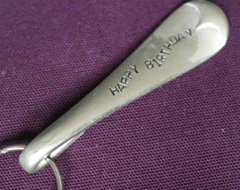 hand stamped cutlery key ring happy birthday