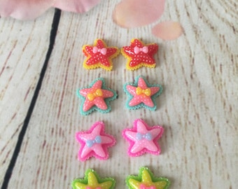 2 PCS Starfish with bow Flatback resin hair bow center. star fish bow center. star fish ribbon. the little mermaid. little mermaid bow.