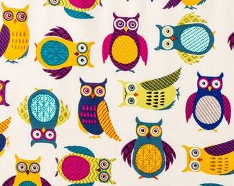 Brother Sister Design Studio Bright Owl bird fabric - Cream - Per 1/2 metre - 100% Cotton
