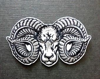 Ram Sheep Evil Rock Satanic Devil Biker Iron On Patch