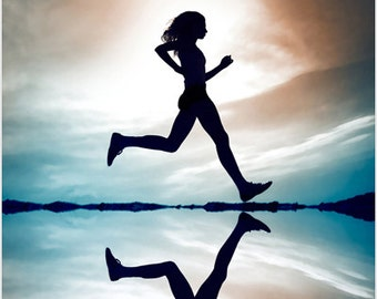 Woman Running Inspirational Poster 24x36 Motivating Fitness Exercise New!