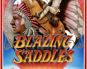 Blazing Saddles Movie Poster Indian Headdress Comedy 24x36