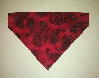 Reversible dog bandana over the collar, dog bandana,  red paisley, puppy bandana