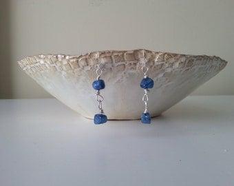 Raw Blue Gemstone Earrings