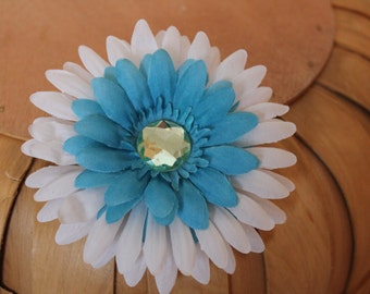 Teal and White Flower Hair Clip