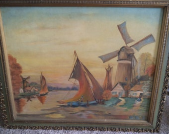 1920 Oil On Board Signed Lee - Original