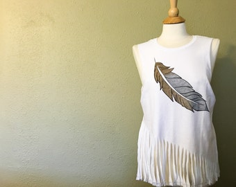 Hand Painted Feather Tank