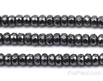 Hematite beads, 4x6mm roundel faceted, grade A black hematite beads, natural stone beads, gemstone beads, beads jewelry, HMT1120